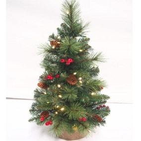 2ft Pre-Lit Berries & Cones Christmas Tree