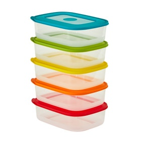 5 Piece BPA Free Food Storage Container Set with Coloured Lids