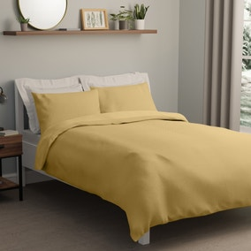 Square Waffle Ochre Duvet Cover and Pillowcase Set