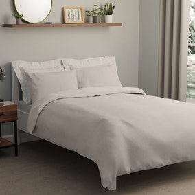 Square Waffle White Duvet Cover and Pillowcase Set
