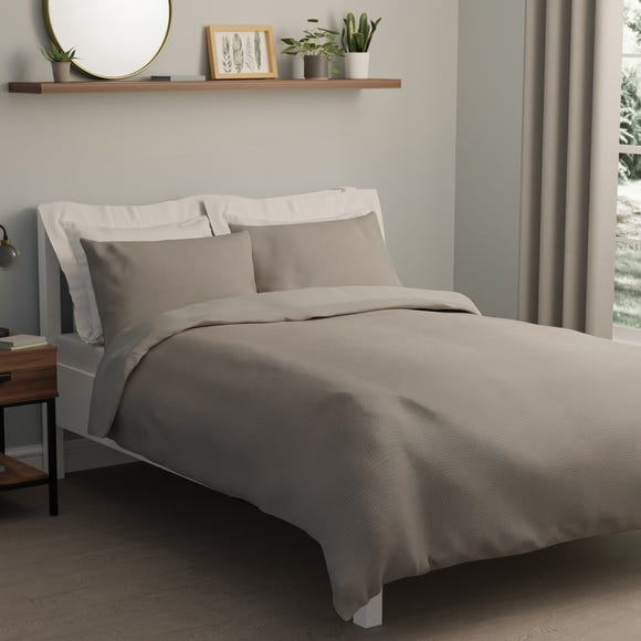 Square Waffle Silver Duvet Cover and Pillowcase Set  undefined