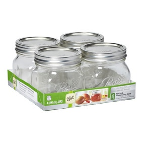 Pack of 4 Ball Mason 490ml Wide Mouth Preserving Jars