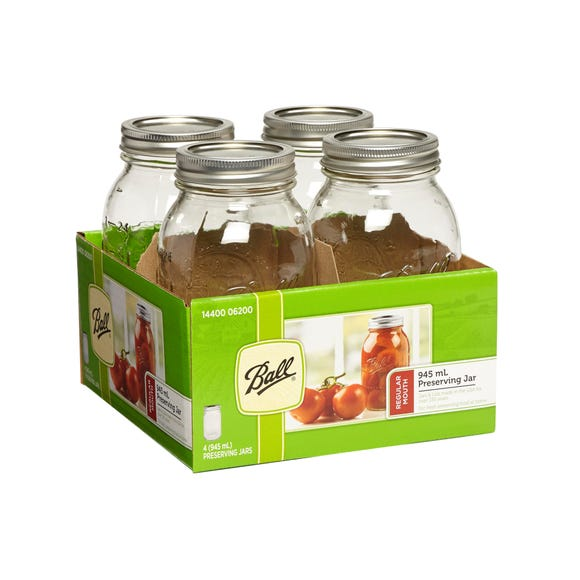 Pack of 4 Ball Mason 945ml Regular Mouth Preserving Jars Clear