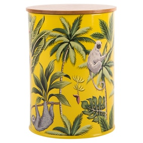 Madagascar Sloth Mustard Canister with Bamboo Lid