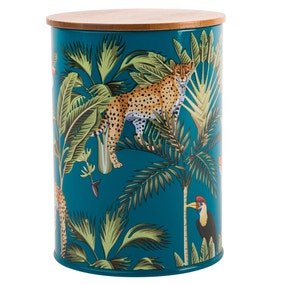 Madagascar Cheetah Teal Canister with Bamboo Lid