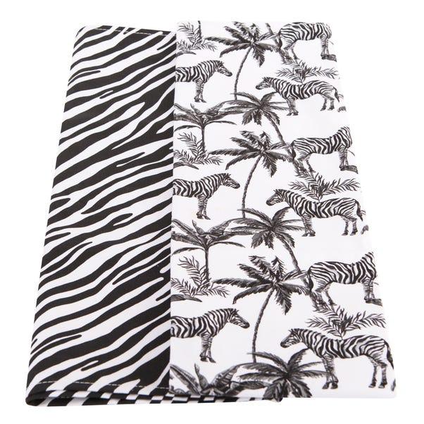 Madagascar Zebra Twin Pack of Tea Towels Black & White
