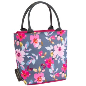 Gardenia Grey Floral Insulated Lunch Tote
