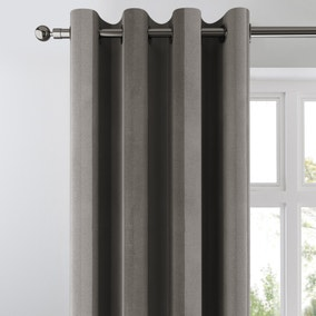 Chenille Stripe Graphite Eyelet Curtains