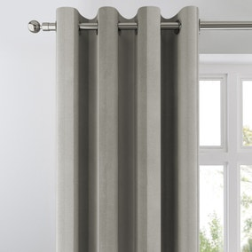 Chenille Stripe Silver Eyelet Curtains