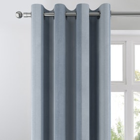 Chenille Stripe Blue Eyelet Curtains