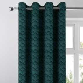 Pinsonic Geometric Velvet Peacock Eyelet Curtains