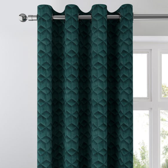 Pinsonic Geometric Velvet Peacock Eyelet Curtains  undefined