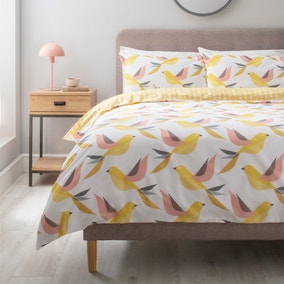 Birdie Yellow Duvet Cover and Pillowcase Set