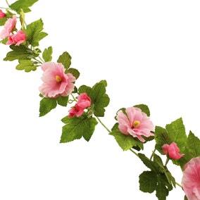 Hollyhock Garland 150cm Pink