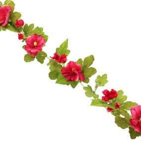 Hollyhock Garland 150cm Fuchsia