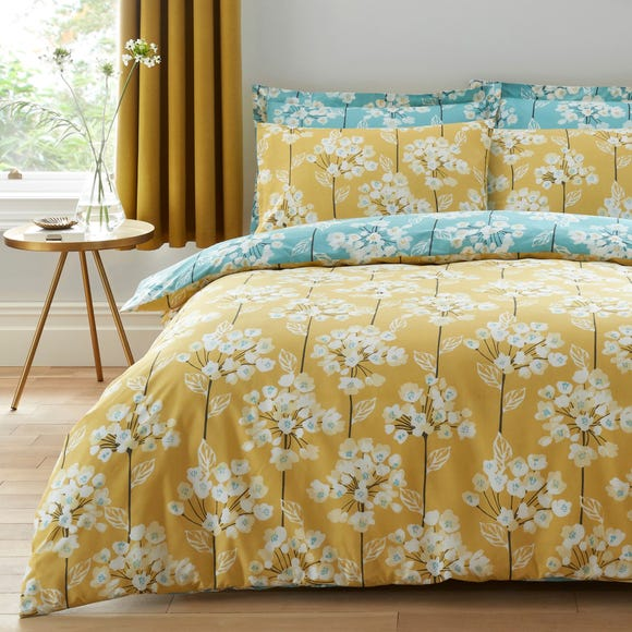 Erin Teal & Ochre Reversible Duvet Cover and Pillowcase Set Teal undefined