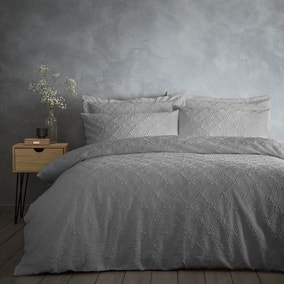 Astra Grey Duvet Cover and Pillowcase Set