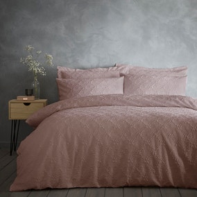 Astra Textured Pink Duvet Cover and Pillowcase Set