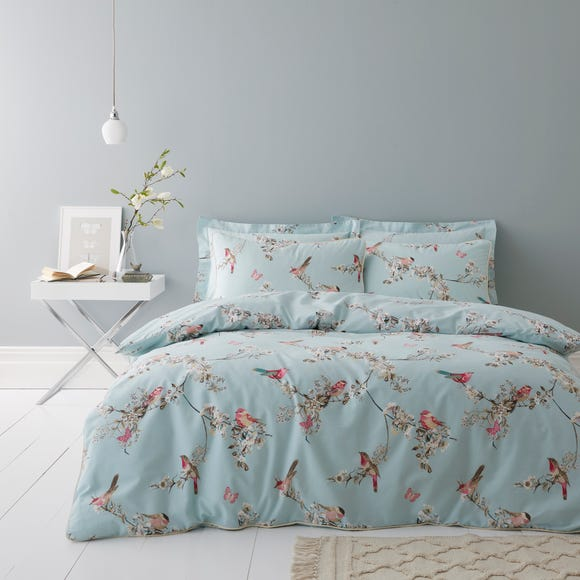 Beautiful Birds Duck-Egg Duvet Cover and Pillowcase Set  undefined