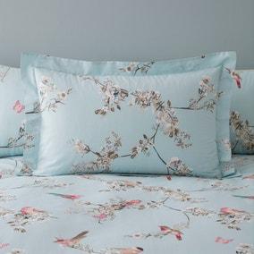 Beautiful Birds Duck-Egg Oxford Pillowcase