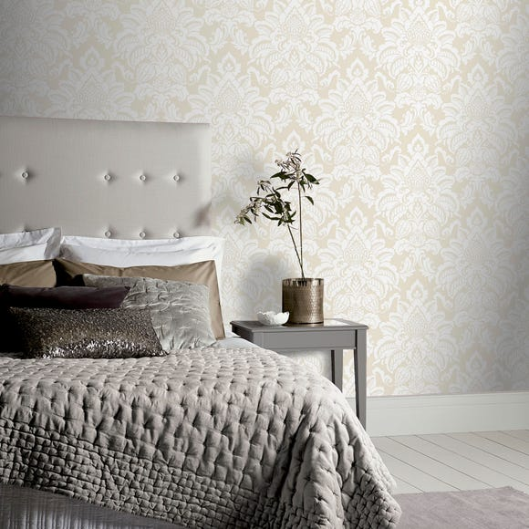 Glisten Platinum Damask Grey Wallpaper Grey