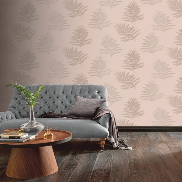 Metallic Fern Blush Wallpaper Blush