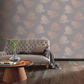 Metallic Fern Charcoal Wallpaper