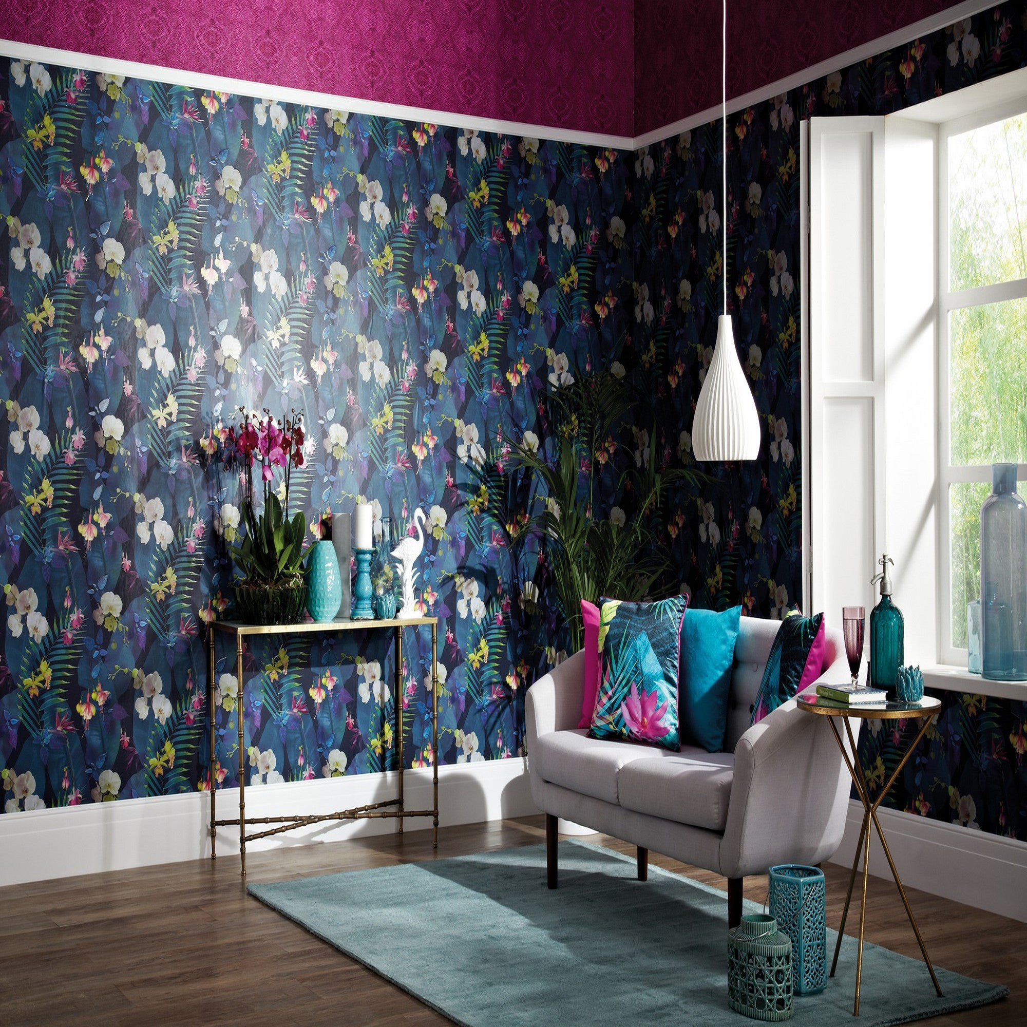 Click to view product details and reviews for Pindorma Floral Navy Wallpaper Navy Green And Purple.