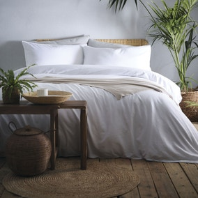 Appletree Cassia White 100% Cotton Duvet Cover and Pillowcase Set