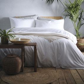 Appletree Cassia White 100% Cotton Duvet Cover and Pillowcase Set