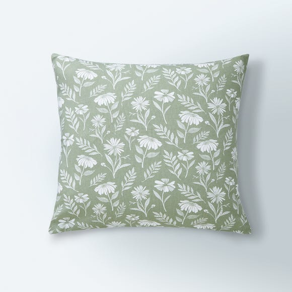 Timeless Floral Print Cushion Cover Sage (Green)