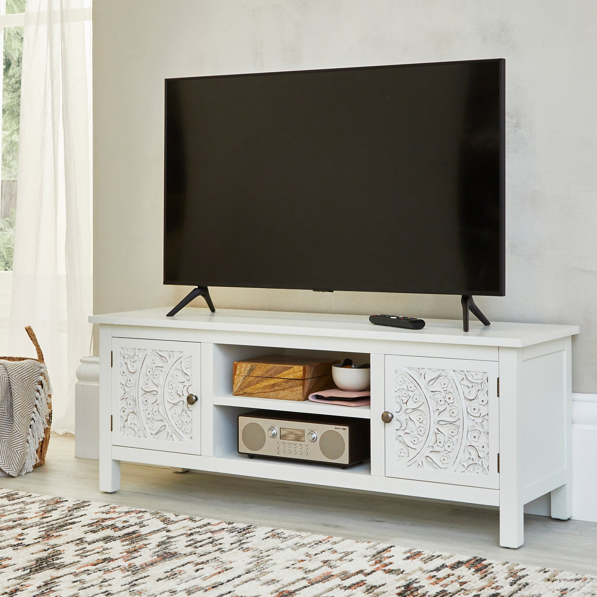 Dunelm Samira TV Stand White 47x120x38cm