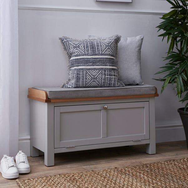 Bromley Grey Storage Bench With Cushion Grey