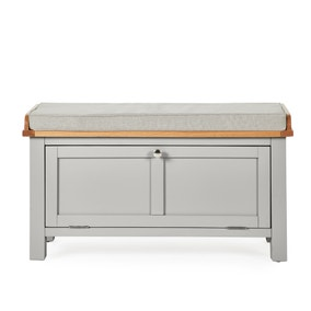 Bromley Grey Storage Bench With Cushion