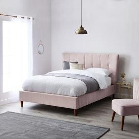 Isla Velvet Bed Frame - Blush