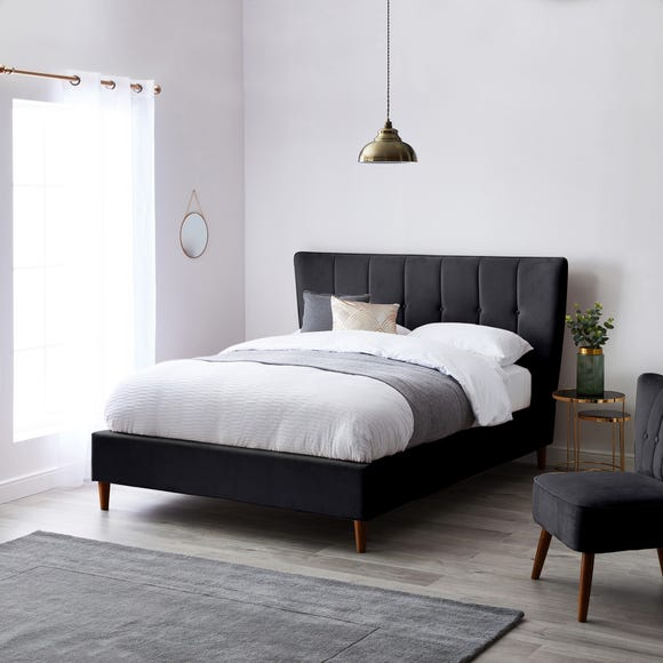 Isla Velvet Bed Frame - Charcoal  undefined