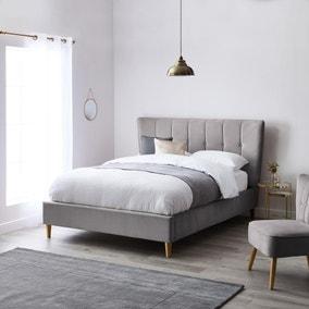 Isla Velvet Bed Frame - Light Grey