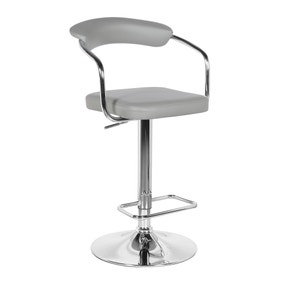 Houston Bar Stool Grey PU Leather