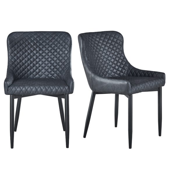 Montreal Set of 2 Dining Chairs Black PU Leather