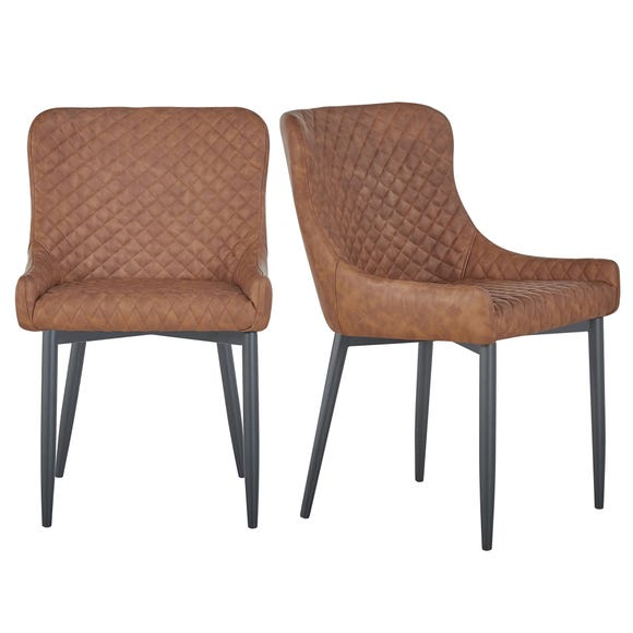 Montreal Set of 2 Dining Chairs Tan PU Leather Tan
