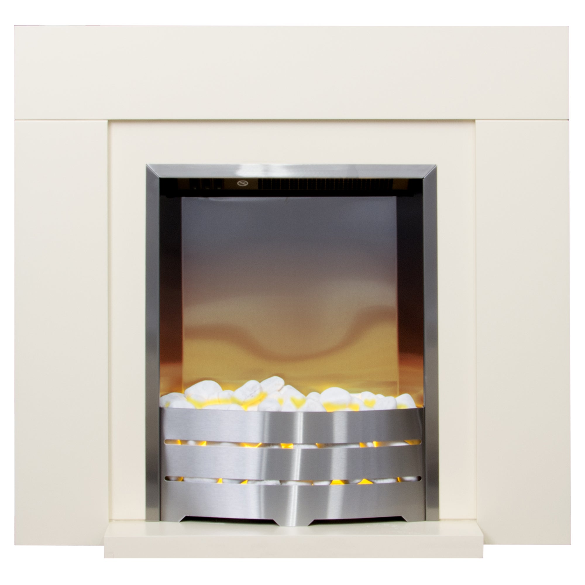 2000W Caprice Cream Electric Fireplace Suite Off-White