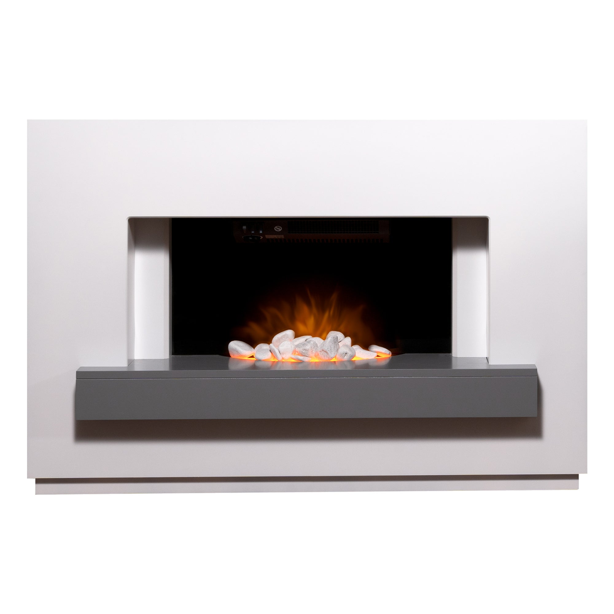 2000W Sambro White and Grey Electric Fireplace Suite MultiColoured