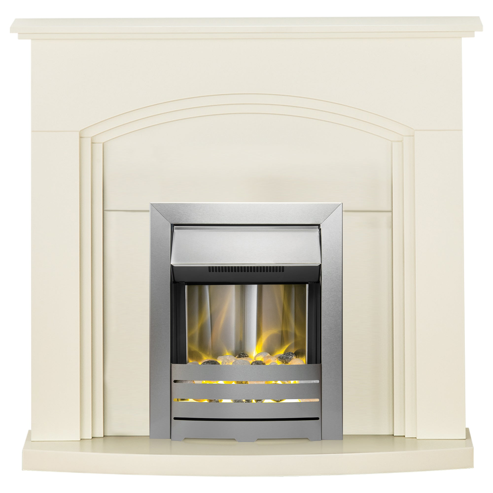 2000W Truro Cream Electric Fireplace Suite with Helios Off-White
