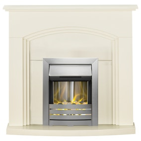 2000W Truro Cream Electric Fireplace Suite with Helios
