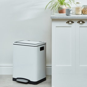 White Gloss 30L Low Recycling Bin