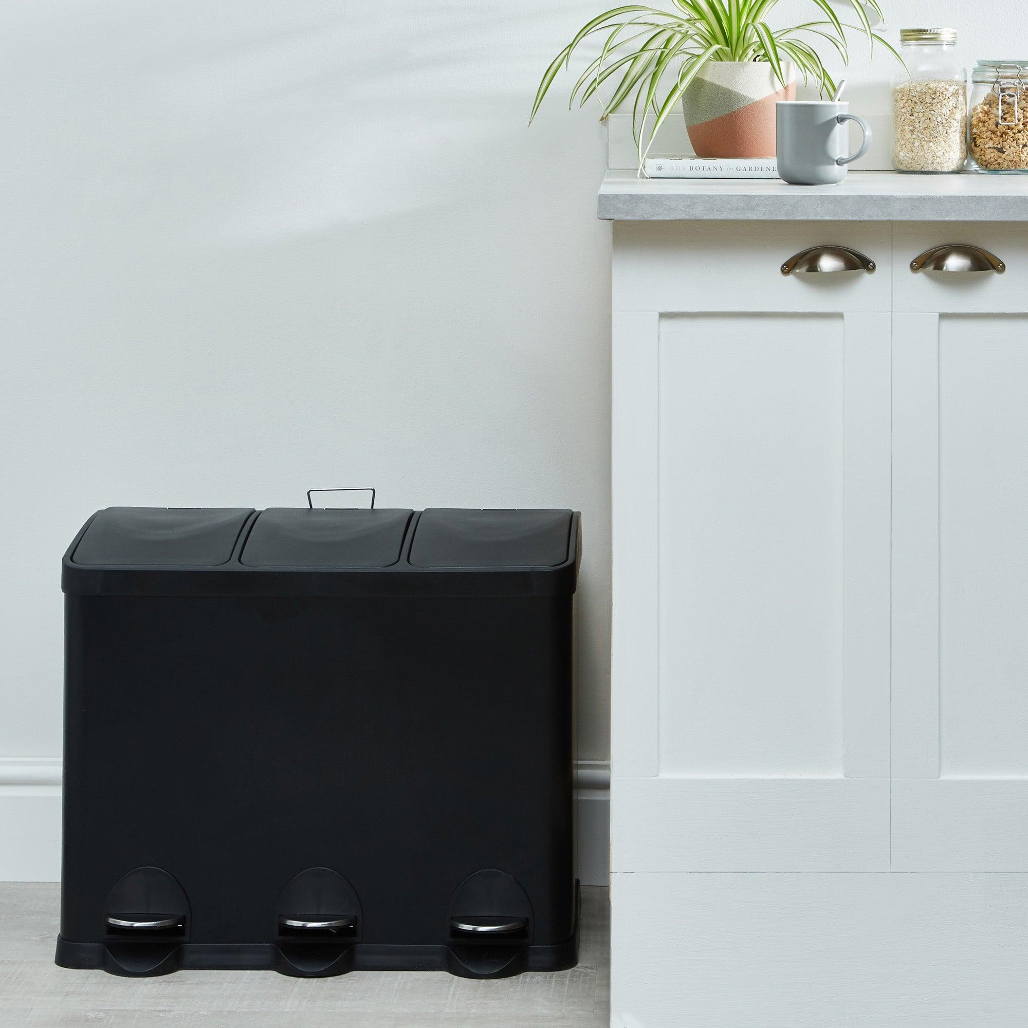 45L Low Recycling Bin Black