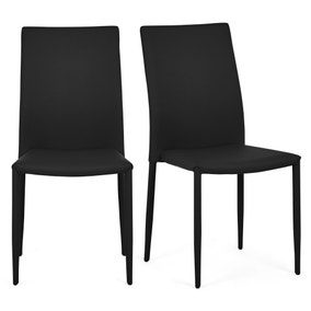 Axel Set of 2 Dining Chairs Black PU Leather