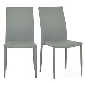 Axel Set of 2 Dining Chairs Grey PU Leather