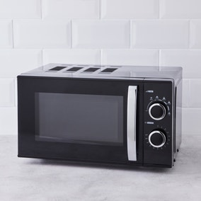 Black 20L 700W Manual Microwave