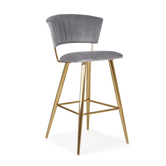 Kendall Bar Stool Grey Velvet